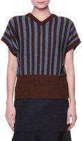 Marni Short-Sleeve V-Neck Striped Sweater, Sadellee Brown