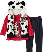 Disney Disney's Minnie Mouse Baby Girl Hooded Vest, Top and Denim Leggings Set
