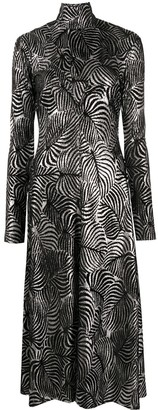 Paco Rabanne Metallized Foliage-Print Dress