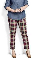 Lands' End Women's Plus Size Pre-hemmed Bi-Stretch Tartan Slim Leg Pants-Stewart Plaid