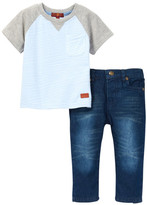 7 For All Mankind Raglan Tee & Pant Set (Baby Boys)