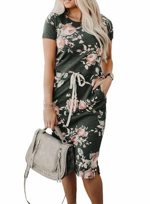 CORAFRITZ Women's Summer Casual House Dress Floral Print Drawstring Split Midi Dress Crew Neck Plain Dress Tie Waist Casual Sundress Drop Hem Waist Drawstring Fashion Gray