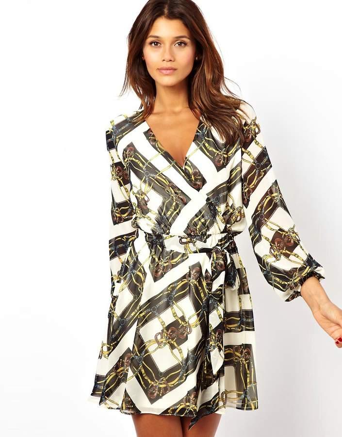 Asos Scarf Chain Print Wrap Dress