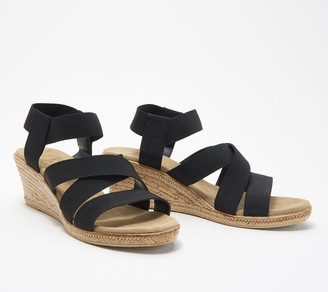 Charleston Shoe Co. Stretch Wedge Sandals - X Strap Cannon