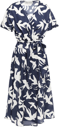 Être Cécile Bird Jacques Printed Cotton And Silk-blend Twill Wrap Dress