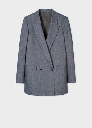 Paul Smith Women's Slate Blue Marl Cotton-Linen Relaxed Double-Breasted Blazer