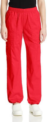 Cherokee Women's Mid-Rise Elastic Waist Cargo Scrubs Pant - red - XL Petite