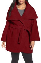 Tahari Plus Size Women's Wool Blend Wrap Coat