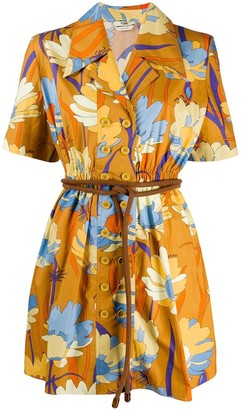 Fendi Floral Belted Mini Dress