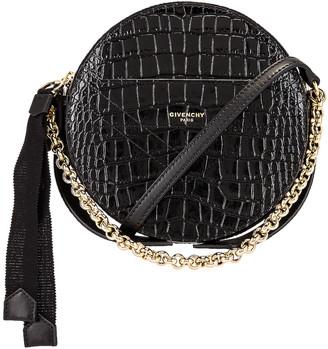 Givenchy Eden Embossed Croc Round Shoulder Bag in Black   FWRD