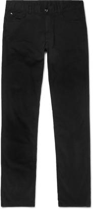 Canali Cotton-Blend Twill Trousers - Men - Black