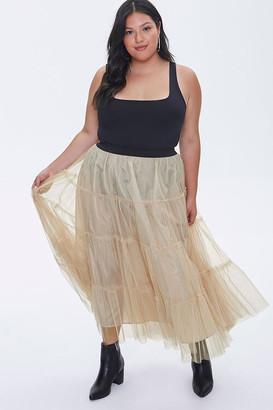 Forever 21 Plus Size Ruffle Mesh Maxi Skirt