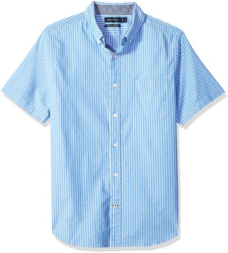 Nautica Men's Short Sleeve Slim Fit Striped Button Down Shirt