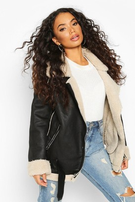 boohoo Petite Teddy Fur Lined Aviator
