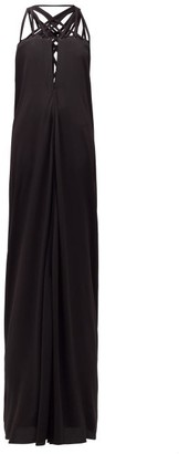 Rick Owens Lace-up Crepe Maxi Dress - Womens - Black