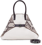 Akris Ai Small Python/Calf Leather Messenger Bag, White/Multi