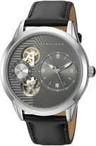 Sean John Men's 'Faux Automatic' Quartz Metal and Leather Dress Watch, Color: (Model: SJC0178001)