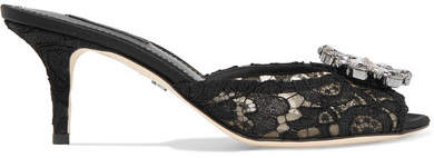 Dolce & Gabbana Crystal-embellished Corded Lace Mules - Black