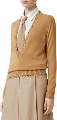 Burberry Chain Embellished Plunge Neck Cashmere Sweater