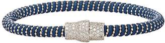 Ingenious Jewellery Blue Leather Bracelet with Sterling Silver Beads and Pave Magnetic Clasp of 18.5cm