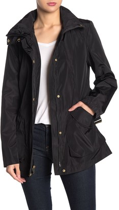 Via Spiga Solid Hooded Belted Anorak Jacket