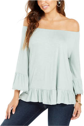 Style&Co. Style & Co Petite Off-The-Shoulder Ruffled Top