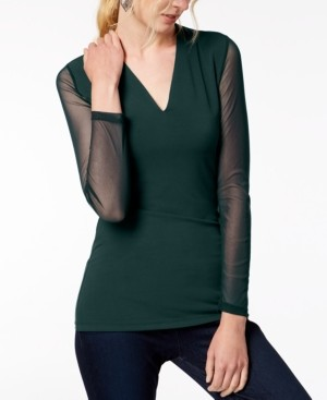 INC International Concepts Inc Illusion-Sleeve V-Neck Blouse, Created for Macy's