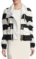 Derek Lam Striped Cropped Anorak Jacket, Multi