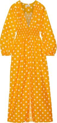 Nicholas Shirred Polka-dot Cotton And Silk-blend Maxi Dress