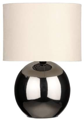 BEIGE Premier Housewares Chrome Ceramic Table Lamp with Fabric Shade