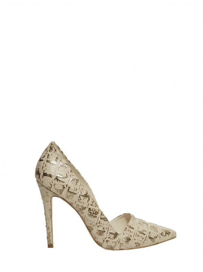 Alice + Olivia Dina Metal Croc Embossed Leather Heel