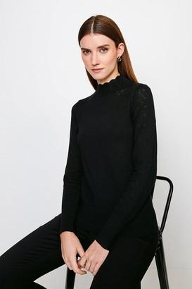 Karen Millen Pointelle Funnel Neck Knitted Jumper