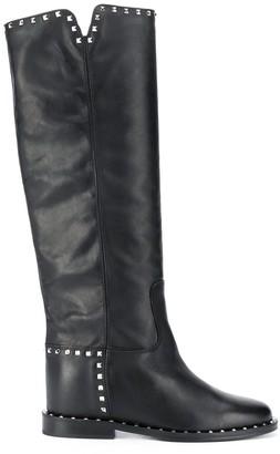 Via Roma 15 Studded Knee-Length Boots