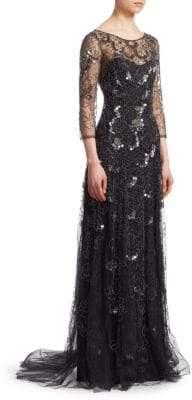 Jenny Packham Floral-Embellished Gown