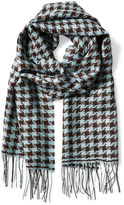 Alicia Adams Alpaca Houndstooth Alpaca Scarf, Brown/Blue