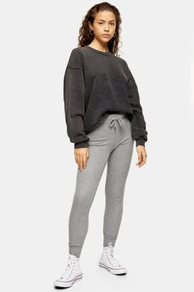 Topshop Womens Petite Grey Fine Ribbed Joggers - Grey Marl