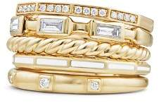 David Yurman Stax Color Ring with Diamonds in 18K Gold