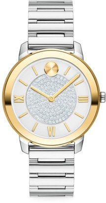 Movado Bold Yellow Gold Ion-Plated, Stainless Steel & Pave Crystal Bracelet Watch