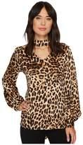 Vince Camuto Long Sleeve Exotic Animal Choker V-Neck Blouse Women's Blouse