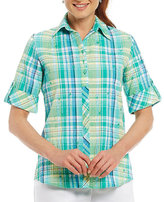 Allison Daley Petite Roll-Tab Short-Sleeve Mix-Print Woven Shirt
