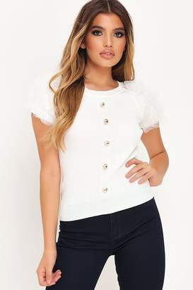 I SAW IT FIRST Cream Button Detail Organza Sleeve Knitted Top