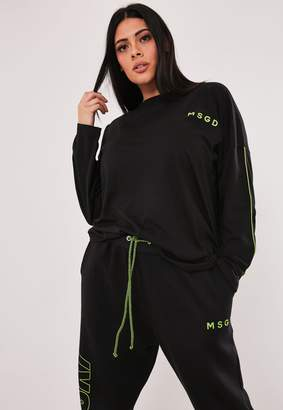 Missguided Msgd Ski Plus Size Black Co Ord Long Sleeve T Shirt