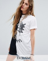 Reclaimed Vintage Sliced Front T-Shirt With Japan Print