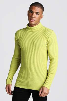 boohoo Muscle Fit Long Sleeve Ribbed Knitted Roll Neck