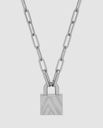 Northskull Silver Necklaces - Chevron Padlock Chain Necklace - Size One Size at The Iconic