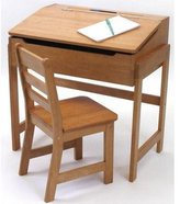 Lipper 564P Child's Slanted Top Desk and Chair, Pecan