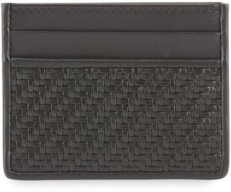 Ermenegildo Zegna Men's Pelle Tessuta Leather Card Case