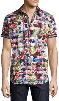 Robert Graham Floral-Print Short-Sleeve Sport Shirt, Multicolor