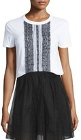 RED Valentino Ruffled Lace-Front Short-Sleeve Top, White