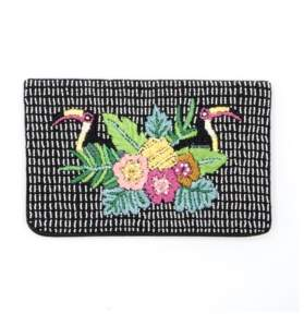 La Regale Weekend Beaded and Embroidered Tropical Bird Envelope Clutch